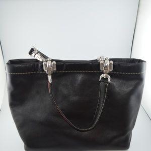 Brighton Bags - Brighton Blk Glove Leather Handbag Stitched Heart